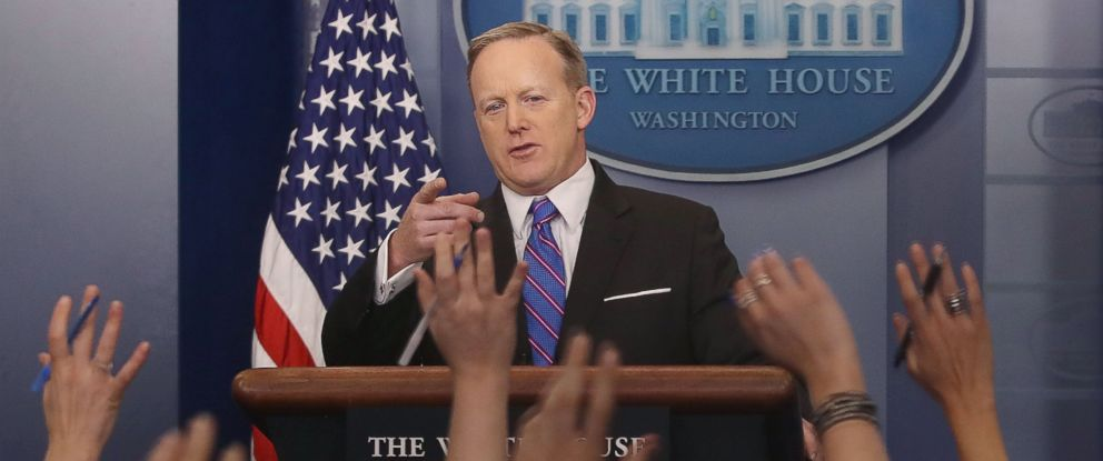 PHOTO: White House Press Secretary Sean Spicer speaks to the media during his daily briefing at the White House, March 8, 2017 in Washington, D.C.