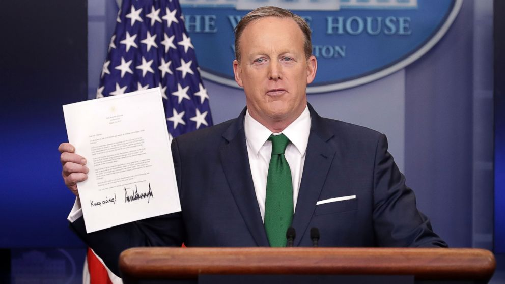 Sean Spicer conducts the daily press briefing in the Brady Press Briefing Room at the White House, March 16, 2017.