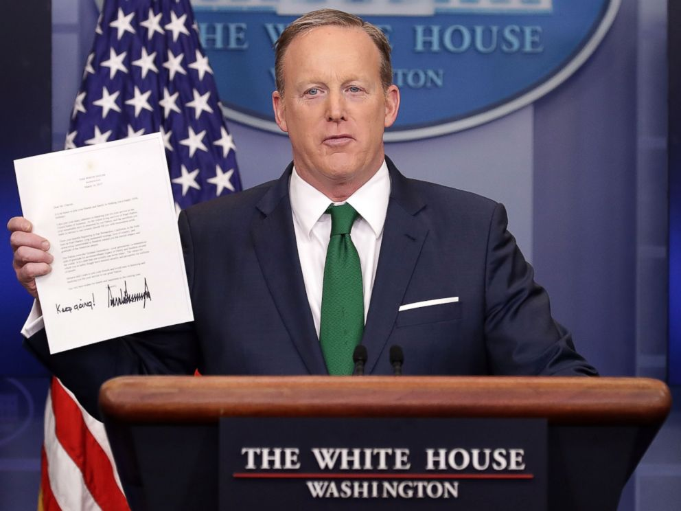 PHOTO: Sean Spicer conducts the daily press briefing in the Brady Press Briefing Room at the White House, March 16, 2017.