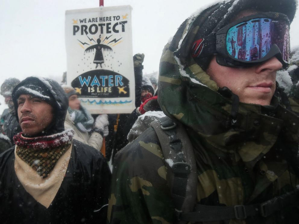 PHOTO: Despite blizzard conditions, military veterans march in support of the water protectors at Oceti Sakowin Camp on the edge of the Standing Rock Sioux Reservation, Dec. 5, 2016 outside Cannon Ball, North Dakota.