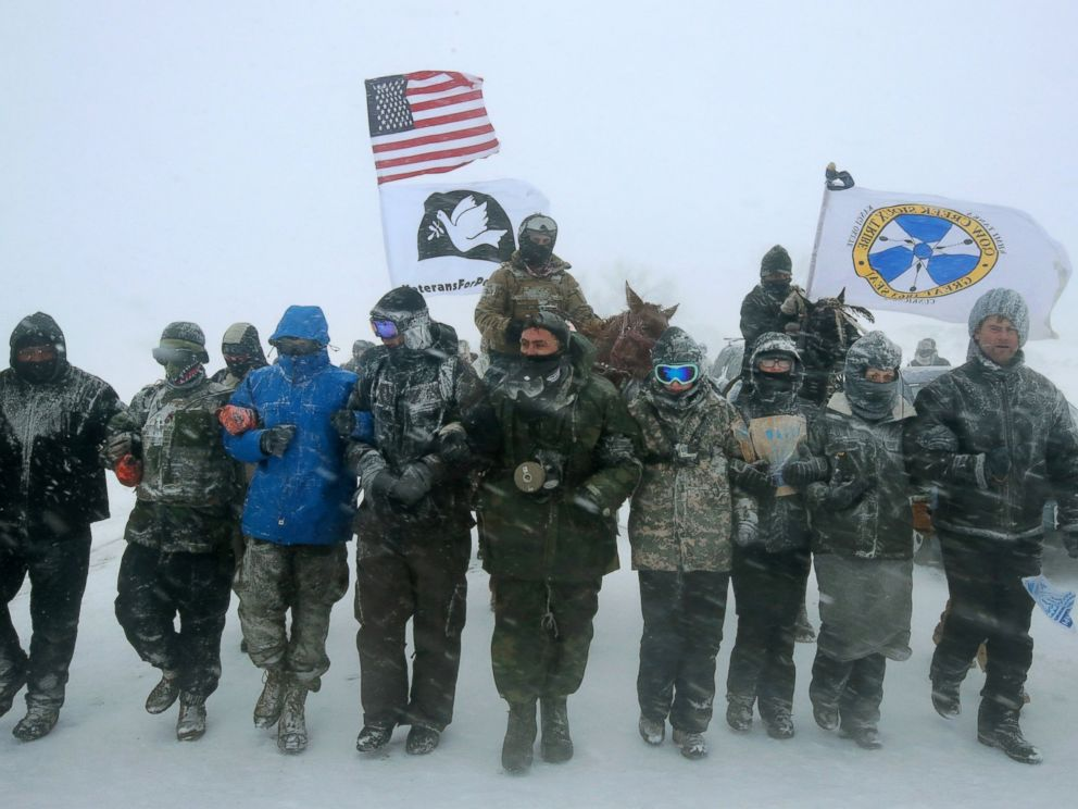 PHOTO: Despite blizzard conditions, military veterans march in support of the water protectors at Oceti Sakowin Camp on the edge of the Standing Rock Sioux Reservation, Dec. 5, 2016, outside Cannon Ball, North Dakota.