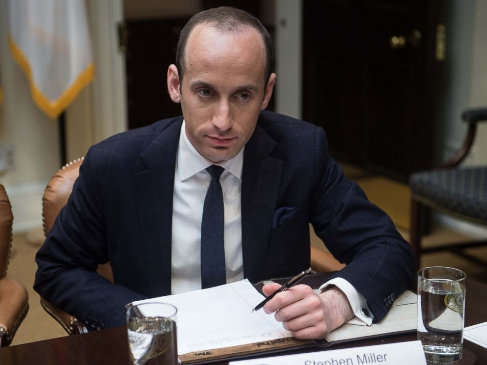 PHOTO: White House Senior Adviser Stephen Miller attends a meeting with President Donald Trump and small business leaders in the Roosevelt Room at the White House, Jan. 30, 2017 in Washington, D.C.