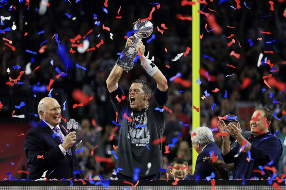 PHOTO: Tom Brady of the New England Patriots holds up the Vince Lombardi Trophy after defeating the Atlanta Falcons 34-28 during Super Bowl 51 at NRG Stadium in Houston, Feb. 5, 2017.