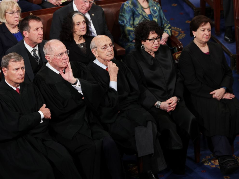 PHOTO: (L-R) Supreme Court Justices John Roberts, Anthony Kennedy, Stephen Breyer, Sonia Sotomayor and Elena Kagan look on as President Donald Trump addresses a joint session of Congress, Feb. 28, 2017.
