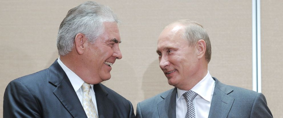 PHOTO: A file photo shows Russias Vladimir Putin speaking with ExxonMobil President and Chief Executive Officer Rex Tillerson in Sochi on Aug. 30, 2011.