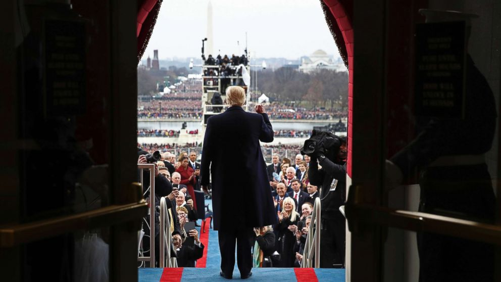 President-elect Donald Trump arrives on the West Front of the U.S. Capitol, Jan. 20, 2017, in Washington, for his inauguration.