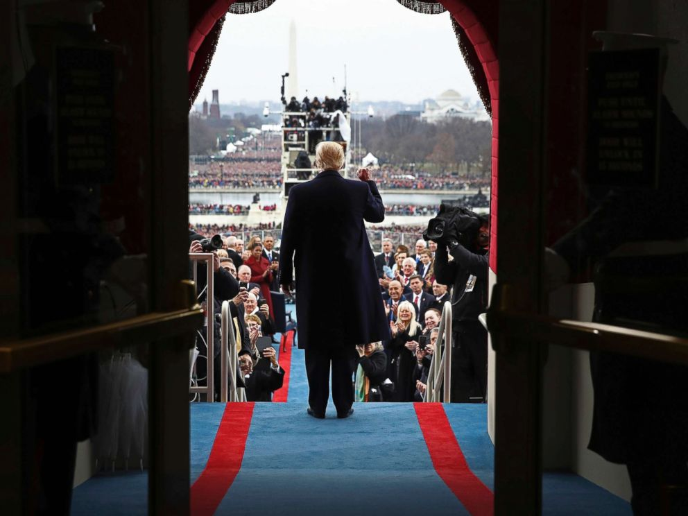 PHOTO: President-elect Donald Trump arrives on the west front of US Capitol, Jan. 20, 2017, in Washington, for his dedication.