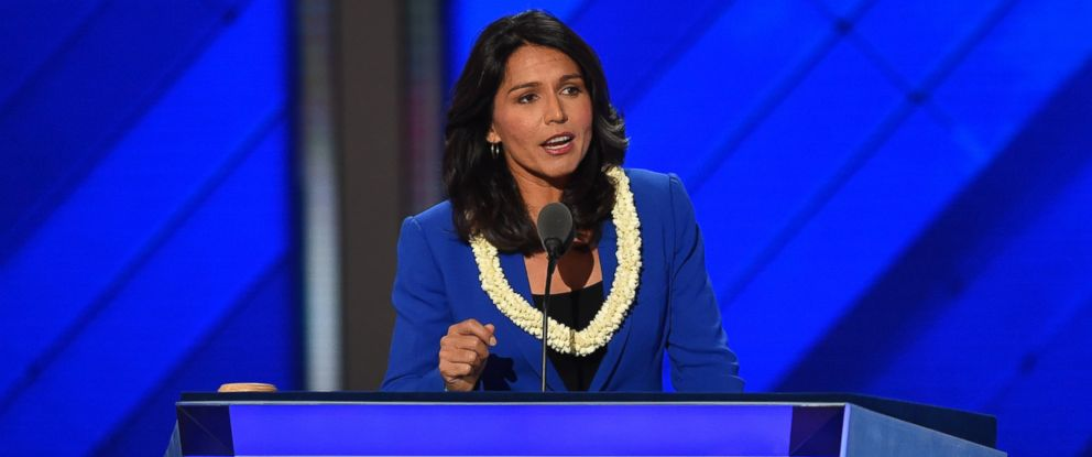 PHOTO: Representative Tulsi Gabbard (D-HI) places Senator Bernie Sanders name in nomination for President of The United States, during the second day of the Democratic National Convention in Philadelphia, July 26, 2016.