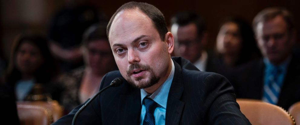 """PHOTO: Russian opposition politician Vladimir Kara-Murza testifies on Capitol Hill in Washington, March 29, 2017, before the Senate Appropriation Committee hearing on """"Civil Society Perspectives on Russia."""""""