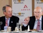 PHOTO: Senators Alan Simpson and Erskine Bowles at the St. Regis Hotel on Nov. 28, 2012.