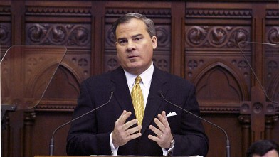 PHOTO: Conn. Gov. John G. Rowland delivers his State of the State address to the Connecticut House of Representatives Feb. 4, 2004 at the capitol in Hartford, Connecticut.