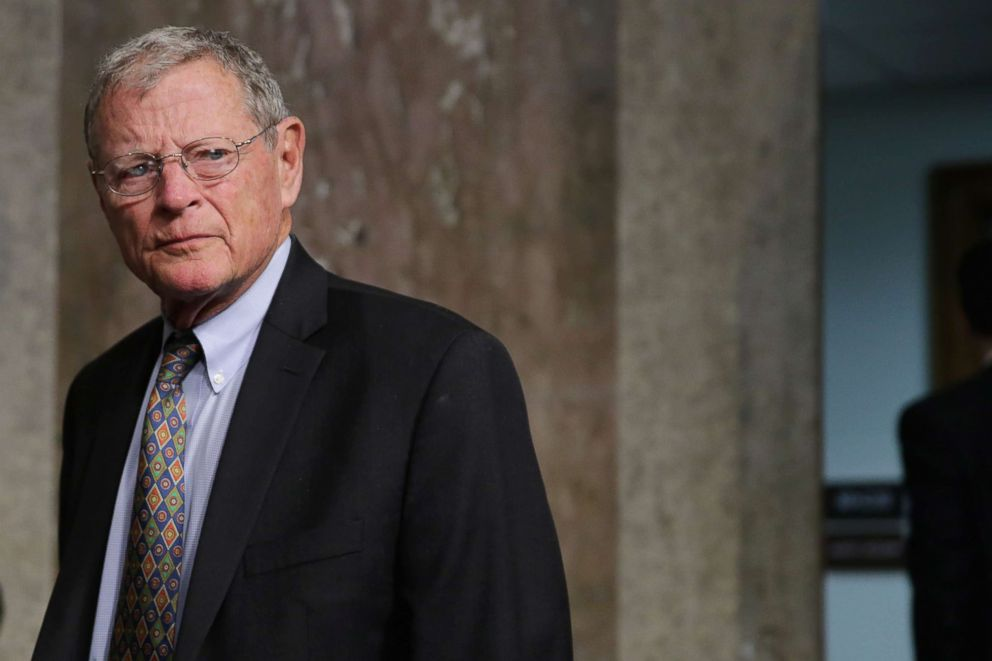 Senate Armed Services Committee member Sen. James Inhofe (R-OK) arrives for hearing about the Pentagon budget in the Dirksen Senate Office Building on Capitol Hill. March 17, 2016.
