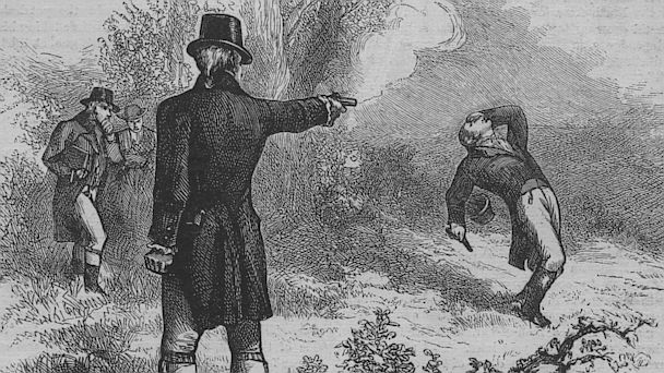 PHOTO: Former Secretary of the Treasury Alexander Hamilton and sitting Vice President Aaron Burr have a duel on July 11, 1804.