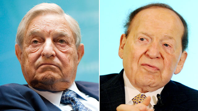 PHOTO: George Soros, left, takes part in a panel discussion at the IMF and World Bank annual fall meeting in Washington, D.C., Sept. 24, 2011. Sheldon Adelson, right, speaks at a luncheon in Macau, June 8, 2011.