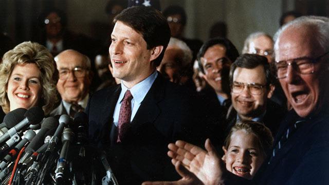 PHOTO: Senator Albert Gore Jr., makes an announcement with wife Tipper, daughter Kristin and his father, former Senator Albert Gore Sr., left.