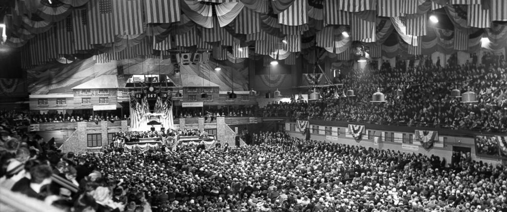 PHOTO: Thousands gather at an America First Committee rally in the Chicago Arena to listen to organizations chairmen, Gen. Robert Wood and Col. Charles Lindbergh give speeches advocating for isolationism and cutting off aid to Britain, April 17, 1941.