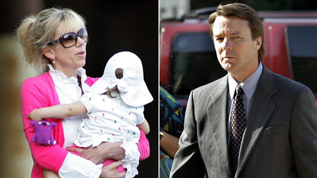 PHOTO:Rielle Hunter carries her daughter, left, in this file photo./John Edwards arrives at a federal courthouse in Greensboro, N.C., May 7, 2012.