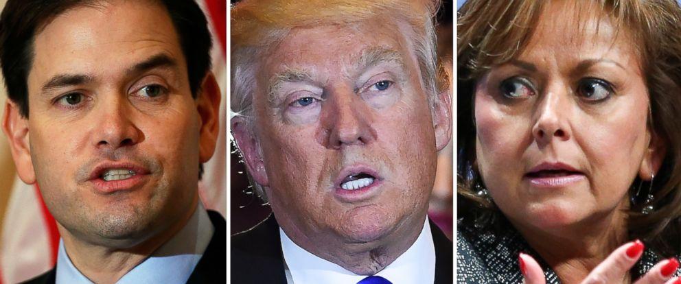 PHOTO: Marco Rubio speaks in Florida on March 11, 2016, Donald Trump speaks in New York on May 3, 2016 and Susana Martinez speaks in Las Vegas, Nov. 18, 2015.
