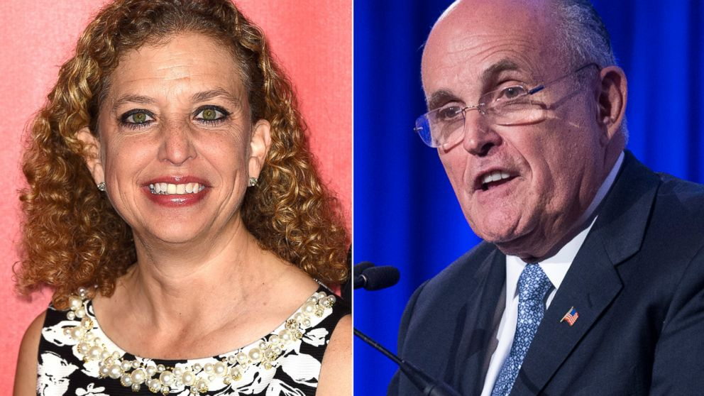 Congresswoman Debbie Wasserman Schultz, left, on Feb. 6, 2015 and Rudy Giuliani, right, is seen in this May 12, 2014 file photo.