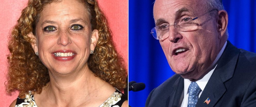 PHOTO: Congresswoman Debbie Wasserman Schultz, left, on Feb. 6, 2015 and Rudy Giuliani, right, is seen in this May 12, 2014 file photo.
