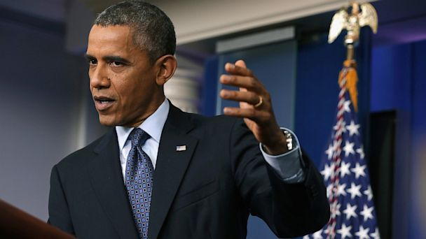 PHOTO: President Obama speaks during press conference