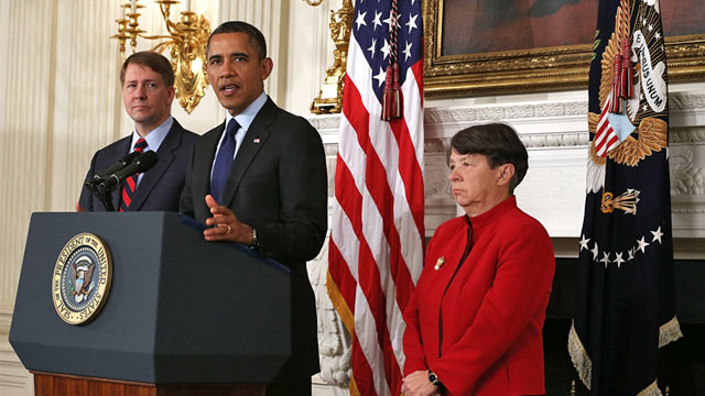 PHOTO: Barack Obama, Richard Cordray and Mary Jo White