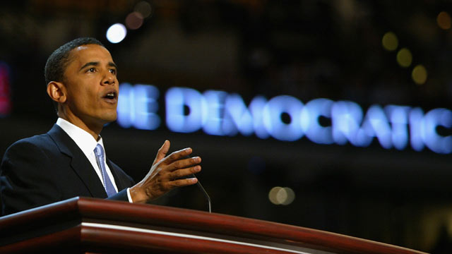 PHOTO: U.S. Senate candidate Barack Obama of Illinois delivers the keynote address to delegates on the floor of the FleetCenter on the second day of the Democratic National Convention July 27, 2004 in Boston, Massachusetts.