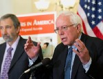 "PHOTO: Paul Glassman, the director for the Pacific Center for Special Care, and Sen. Bernie Sanders, I-Vt., speak at news conference to announce legislation to ""address the national crisis in dental care."""
