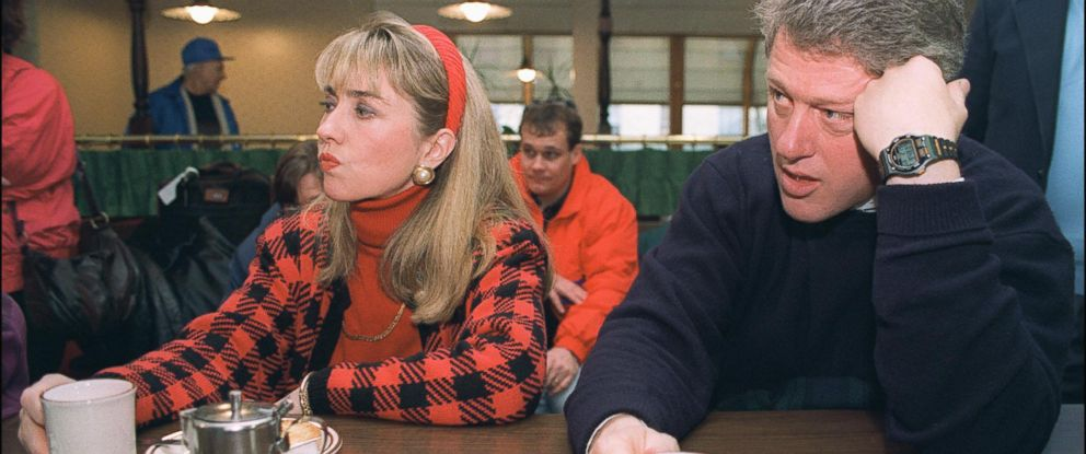 PHOTO: Democratic presidential candidate Bill Clinton in a picture dated Feb. 16, 1992 in Bedford and his wife Hillary relax during campaign tour.