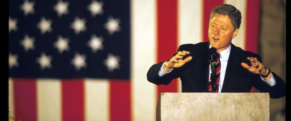 PHOTO: Bill Clinton speaks on the final weekend of his campaign in Springfield, Ohio, Oct. 30, 1992.