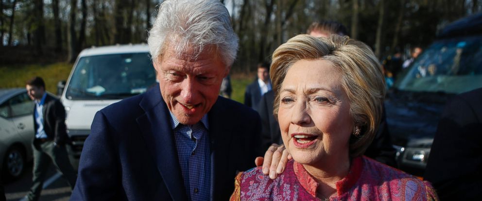 PHOTO: Presidential candidate Hillary Clinton and her husband, former President Bill Clinton, greet supporters after casting their ballots at a polling station during the New York State presidential primaries on April 19, 2016 in Chappaqua, New York.