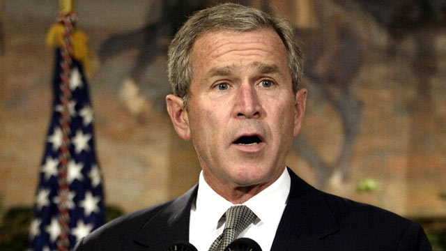 PHOTO: George W. Bush delivers a statement, Oct. 10, 2002 in the Roosevelt Room of the White House in Washington, DC, welcoming the House of Representatives vote authorizing him to make war on Baghdad.