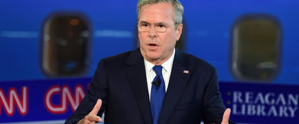 PHOTO: Republican presidential candidate Jeb Bush speaks during the Republican Presidential Debate at the Ronald Reagan Presidential Library in Simi Valley, Calif., on Sept. 16, 2015.