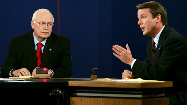 PHOTO: U.S. Vice President Dick Cheney listens as Democratic vice presidential candidate U.S. Senator John Edwards speaks during their debate at Case Western University in Cleveland, Ohio in this Oct. 5, 2004 file photo.