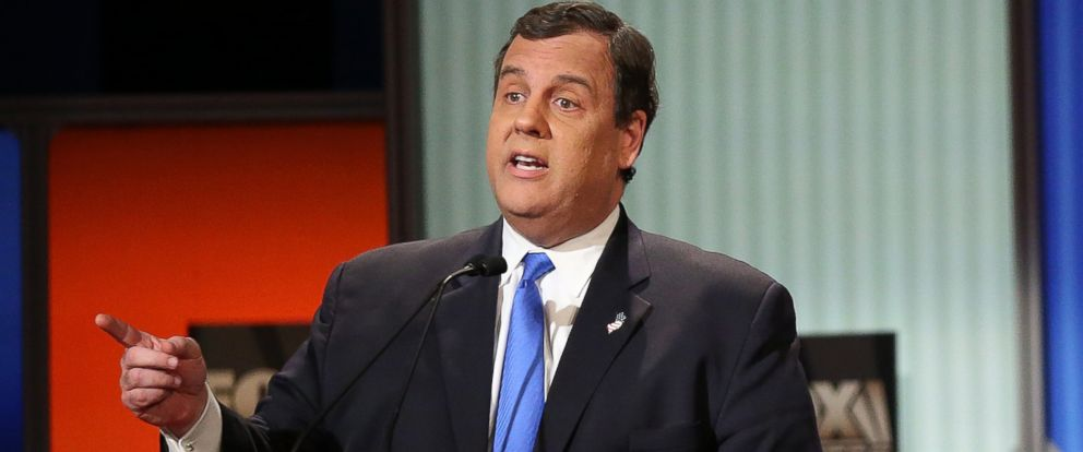 PHOTO: Republican presidential candidate New Jersey Gov. Chris Christie at the Fox Business Network Republican presidential debate at the North Charleston Coliseum and Performing Arts Center on Jan. 14, 2016. in North Charleston, South Carolina.