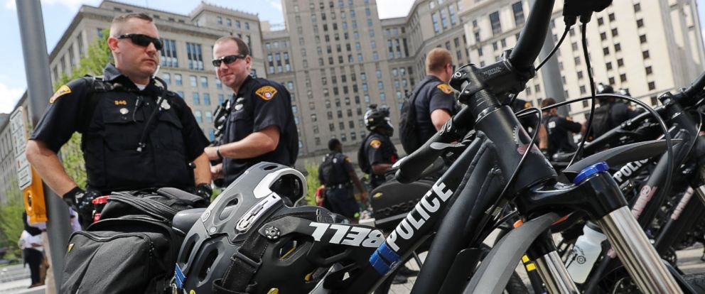 PHOTO: Cleveland police patrol in downtown Cleveland ahead of the Republican National Convention on July 17, 2016 in Cleveland, Ohio.