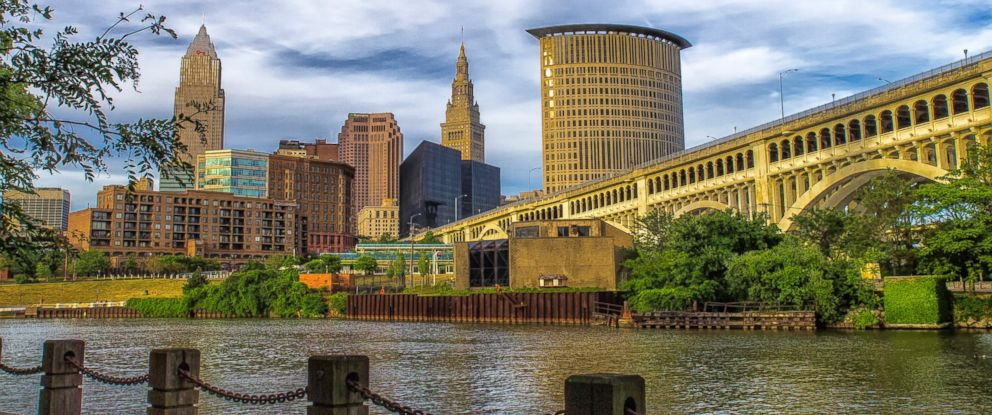 PHOTO: The Veterans Memorial Bridge is seen with the downtown Cleveland Skyline in the background.