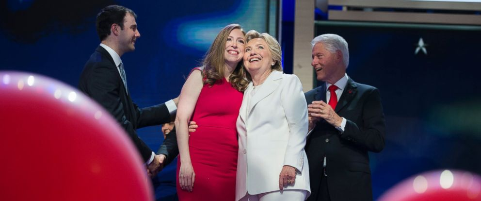 PHOTO: Hillary Clinton, and her daughter Chelsea, appear on stage at the Wells Fargo Center in Philadelphia, Pa., on the final night of the Democratic National Convention, July 28, 2016.