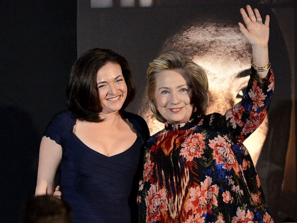 PHOTO: Sheryl Sandberg and Hillary Clinton onstage at the Women for Women 20th Anniversary Gala celebration at the American Museum of Natural History, Dec. 3, 2013 in New York.