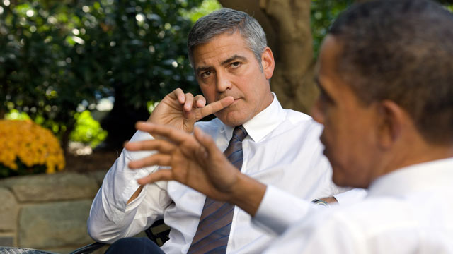 PHOTO: President Barack Obama (R) talks about Sudan with actor George Clooney during a meeting outside the Oval Office October 12, 2010 in Washington, DC.