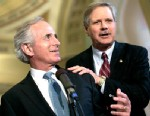PHOTO: Sen. Bob Corker, left, (R-TN) and Sen. John Hoeven (ND) discuss their immigration agreement outside the Senate chamber, June 20, 2013, in Washington.