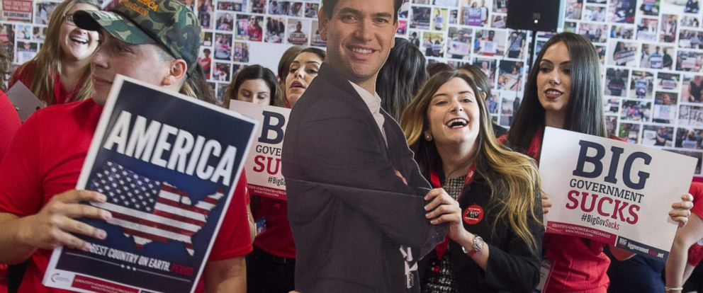 PHOTO: Grace Jackson with Turning Point USA dances with a cutout of presidential hopeful Marco Rubio during the annual Conservative Political Action Conference 2016 at National Harbor in Oxon Hill, Md., March 3, 2016.