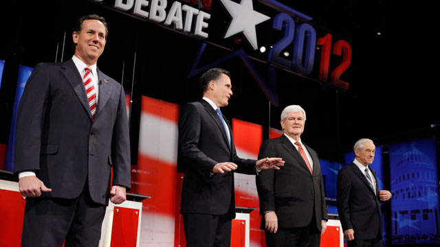PHOTO: Republican presidential candidates, Rick Santorum, Mitt Romney, Newt Gingrich and Ron Paul as they participate in the NBC News, National Journal, Tampa Bay Times debate held at the University of South Florida on January 23, 2012 in Tampa, Florida.