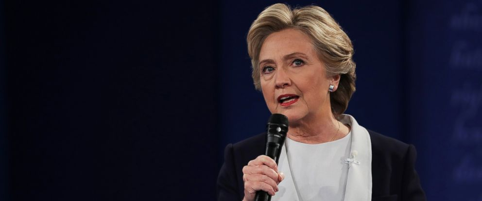 PHOTO: Hillary Clinton responds to a question during the town hall debate at Washington University on Oct. 9, 2016 in St Louis, Missouri.