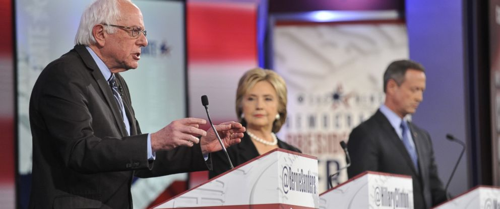 PHOTO: Sen. Bernie Sanders, Former U.S. Secretary of State Hillary Clinton and former Maryland Governor Martin OMalley attend a Democratic presidential debate at Drake University in Des Moines, Iowa, Nov. 14, 2015
