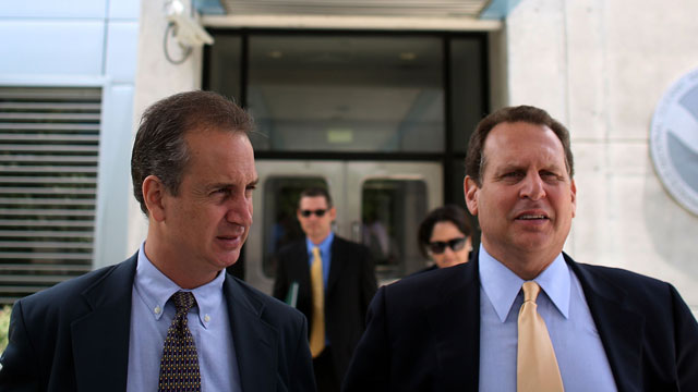PHOTO: Rep. Mario Diaz-Balart, left, and Rep. Lincoln Diaz-Balart walk out of the hurricane center after a previously scheduled meeting with the new director of the National Hurricane Center Bill Proenza in this July 6, 2007 file photo in Miami, Fla.