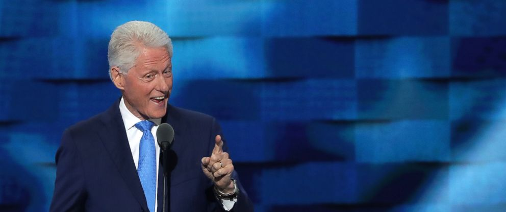 PHOTO: Former President Bill Clinton delivers remarks on the second day of the Democratic National Convention at the Wells Fargo Center, July 26, 2016 in Philadelphia.