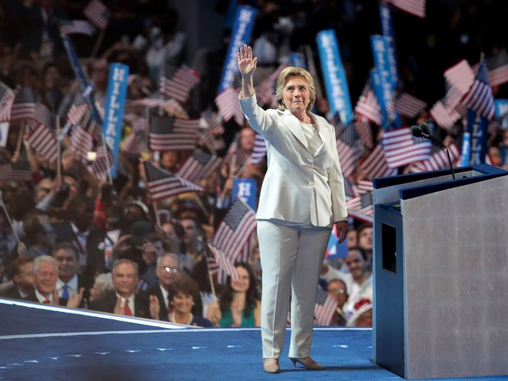 PHOTO: Democratic presidential nominee Hillary Clinton waves to the crowd as she arrives on stage during the fourth day of the Democratic National Convention, July 28, 2016, in Philadelphia.