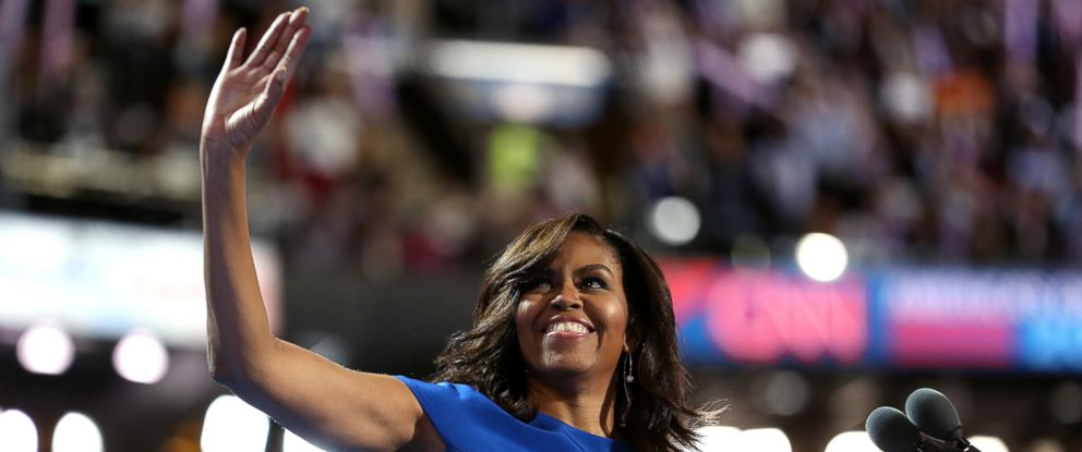 PHOTO: First lady Michelle Obama acknowledges the crowd before delivering remarks on the first day of the Democratic National Convention, July 25, 2016, in Philadelphia.