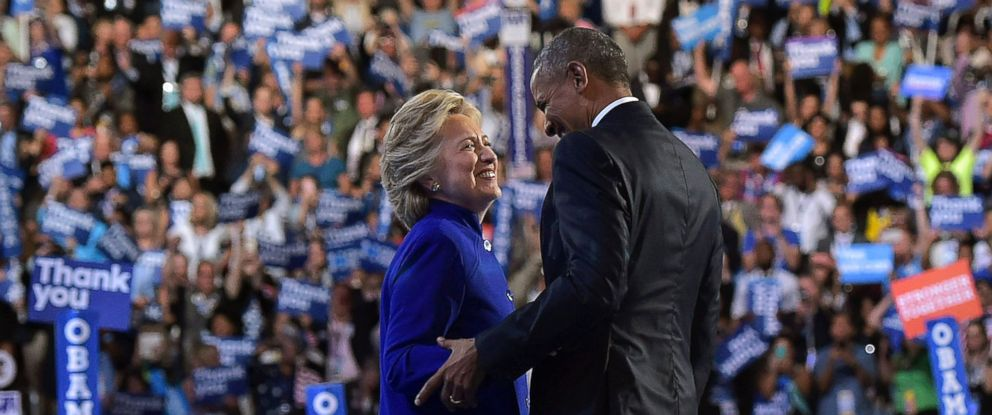 PHOTO: President Barack Obama is joined by Democratic presidential nominee Hillary Clinton after his address to the Democratic National Convention in Philadelphia, July 27, 2016.